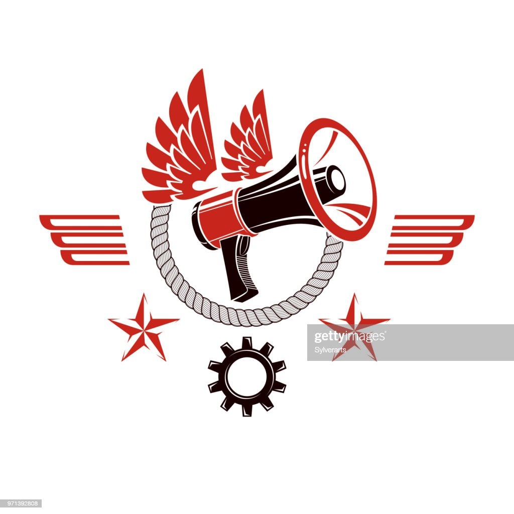 Decorative vector emblem composed with winged loudspeaker and rope. Propaganda as the means of manipulation and control, no restrictions conceptual emblem.