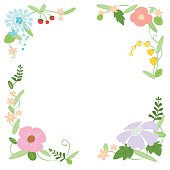 Decorative vector flower frame illustration.Background.