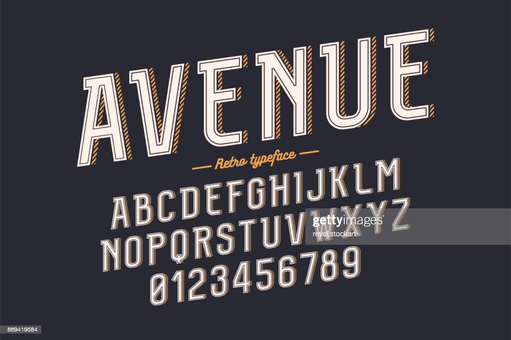 Decorative vector vintage retro typeface, font, alphabet letters, typeface