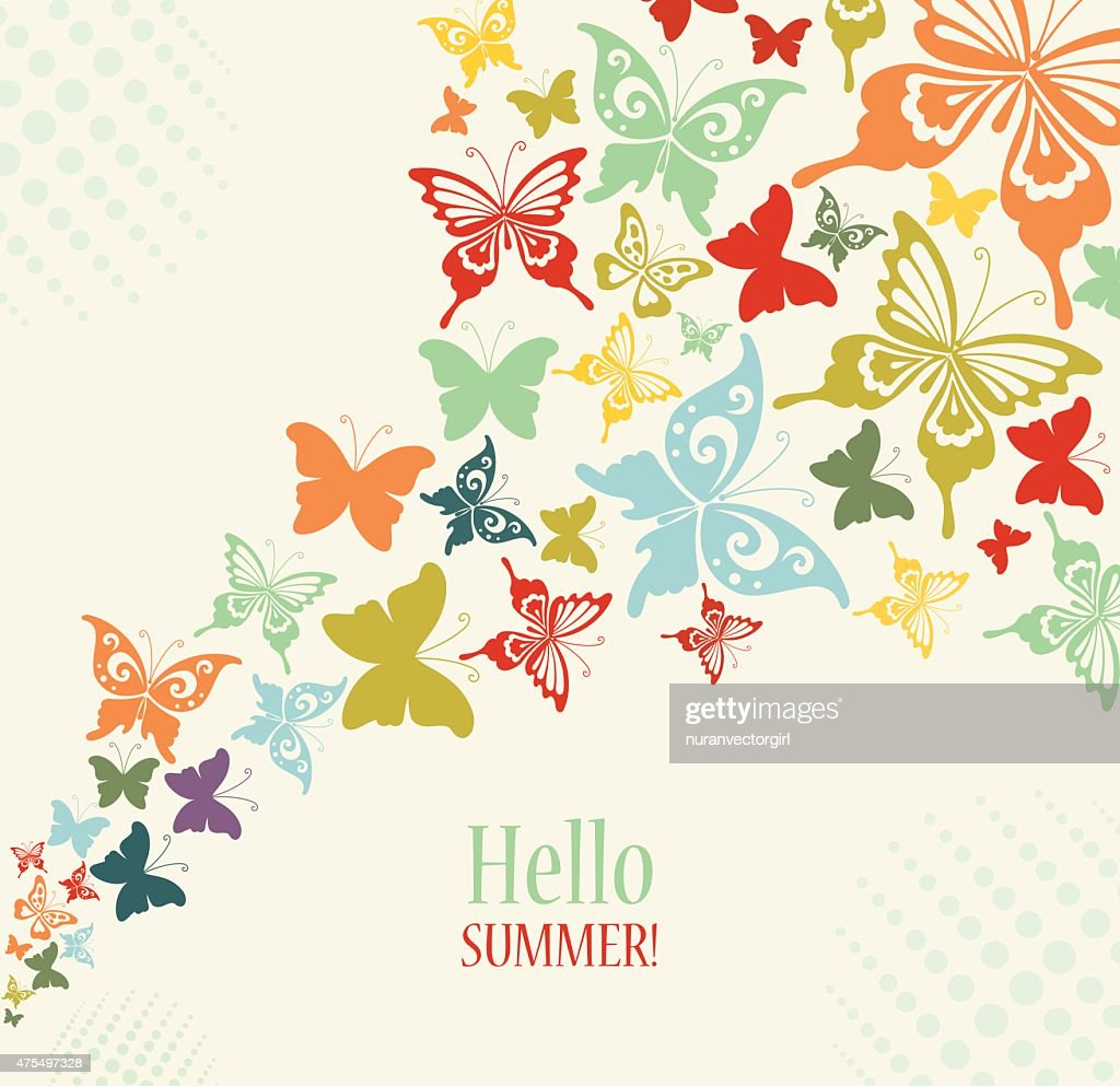 Decorative Vintage Background with Butterflies.