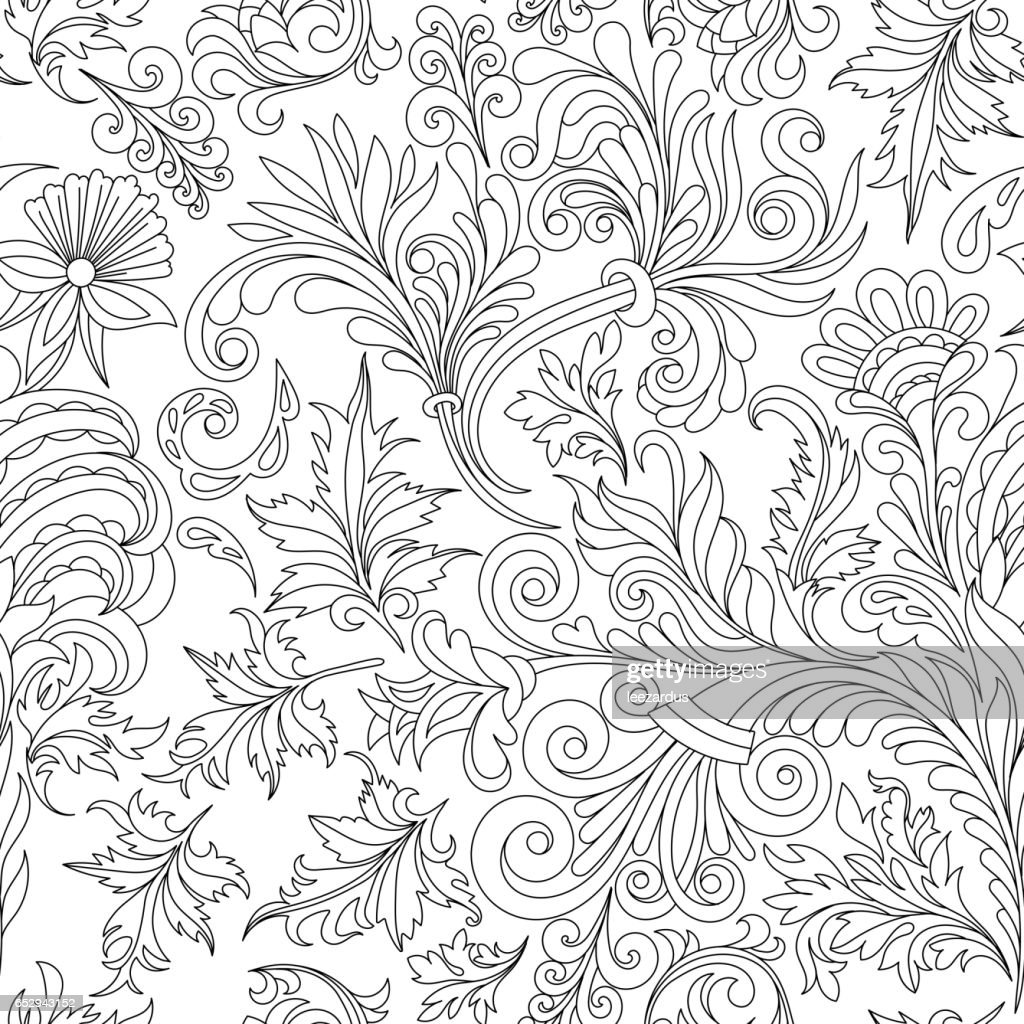 Decorative Vintage Flowers Seamless Pattern Good For Coloring Book ...