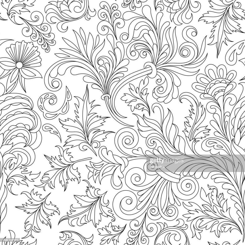 Coloriage Adulte Vintage.Modele Sans Couture Decorative Fleur Vintage Bon Pour Le Livre A