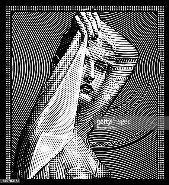decorative vintage illustration of an elegant woman - fine art portrait stock illustrations, clip art, cartoons, & icons