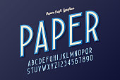Decorative vintage paper craft typeface, font, typeface design