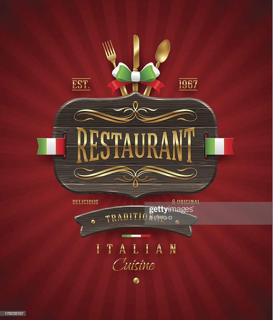 Decorative vintage wooden sign for Italian restaurant with golden decor