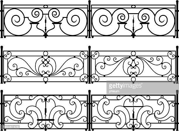 decorative wrought-iron fence or railing vector drawings - metal industry stock illustrations