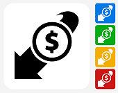 Decrease in Dollar Rate Icon Flat Graphic Design