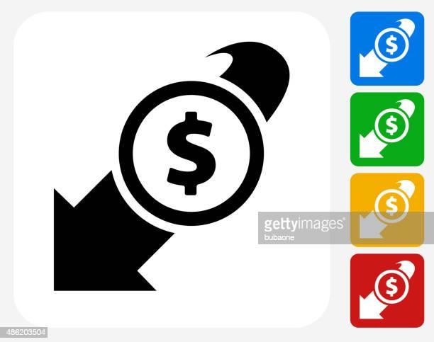 Decrease in Dollar Rate Icon Flat Graphic Design