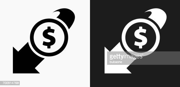 decrease in dollar rate icon on black and white vector backgrounds - deterioration stock illustrations, clip art, cartoons, & icons