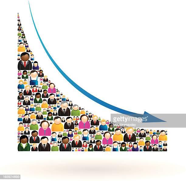 decrease people chart - deterioration stock illustrations, clip art, cartoons, & icons