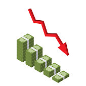 Decreasing stack of isometric money with red arrow