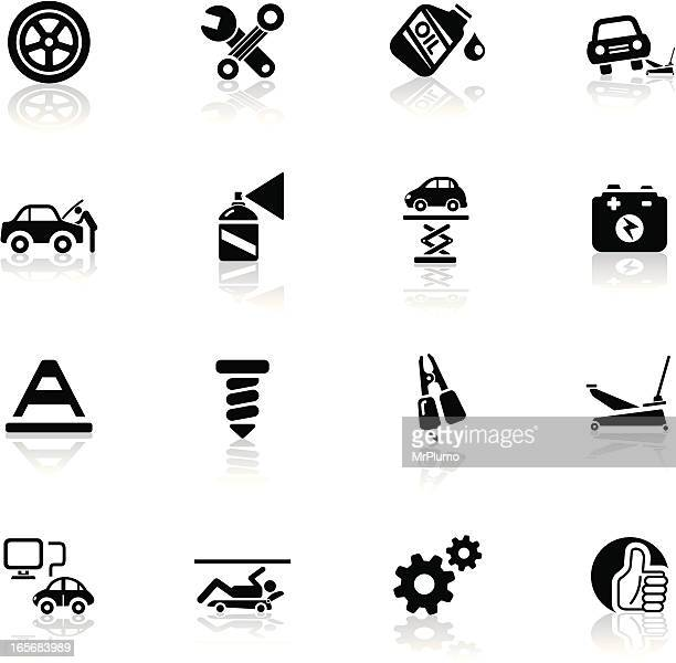 deep black series | car repair icons - wheel stock illustrations, clip art, cartoons, & icons