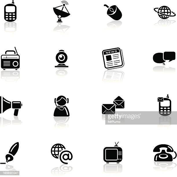 deep black series | communication icons - webcam media apparaat stock illustrations