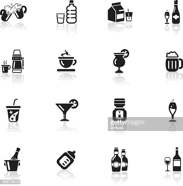 deep black series | drink icons - water bottle stock illustrations, clip art, cartoons, & icons