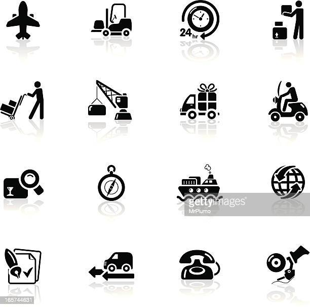 deep black series | logistics and shipping icons - moped stock illustrations, clip art, cartoons, & icons