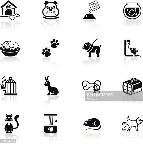 deep black series | pets icons - dog toys stock illustrations