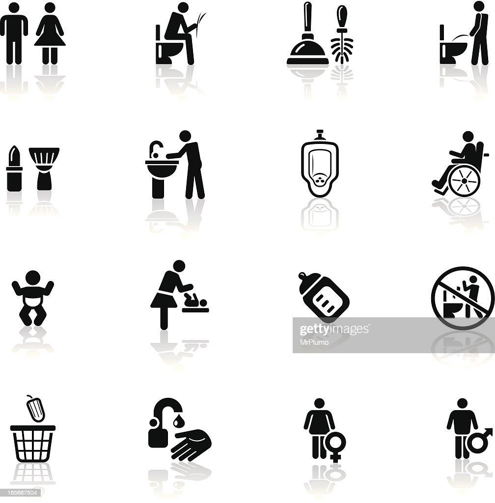 Deep Black Series | restroom icons
