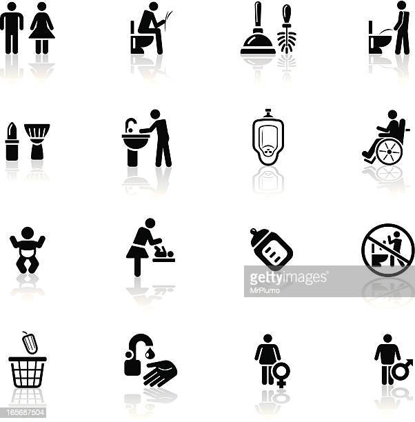 deep black series | restroom icons - toilet brush stock illustrations, clip art, cartoons, & icons