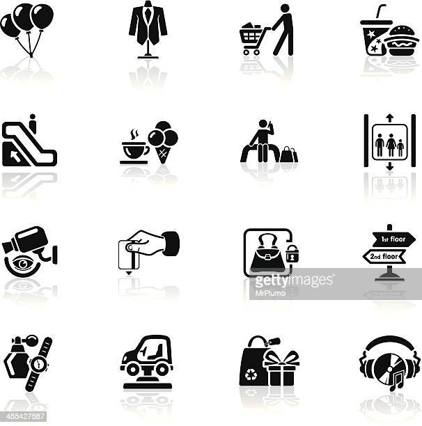 deep black series | shopping mall icons - elevator stock illustrations, clip art, cartoons, & icons