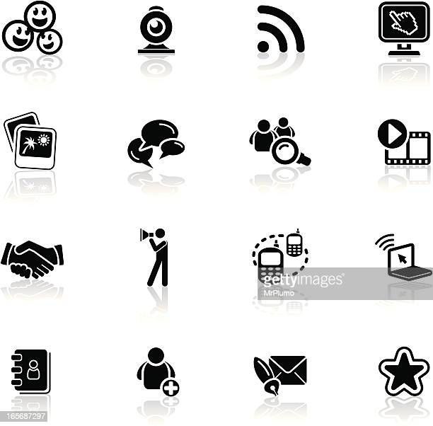 deep black series | social networking icons - webcam media apparaat stock illustrations