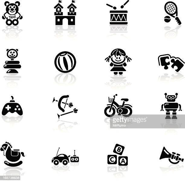ilustraciones, imágenes clip art, dibujos animados e iconos de stock de una serie de iconos, negro/juguetes - puppet