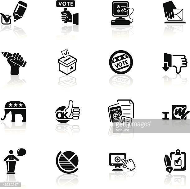 ilustraciones, imágenes clip art, dibujos animados e iconos de stock de una serie de iconos, negro/votación - urna de voto