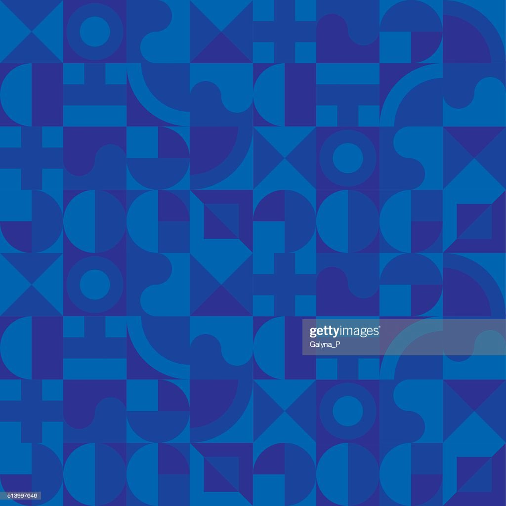 deep blue geometry seamless pattern background
