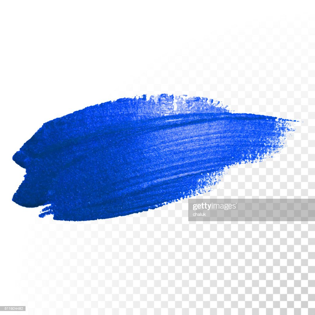 Deep blue watercolor brush abstract stroke. Vector oil paint smear