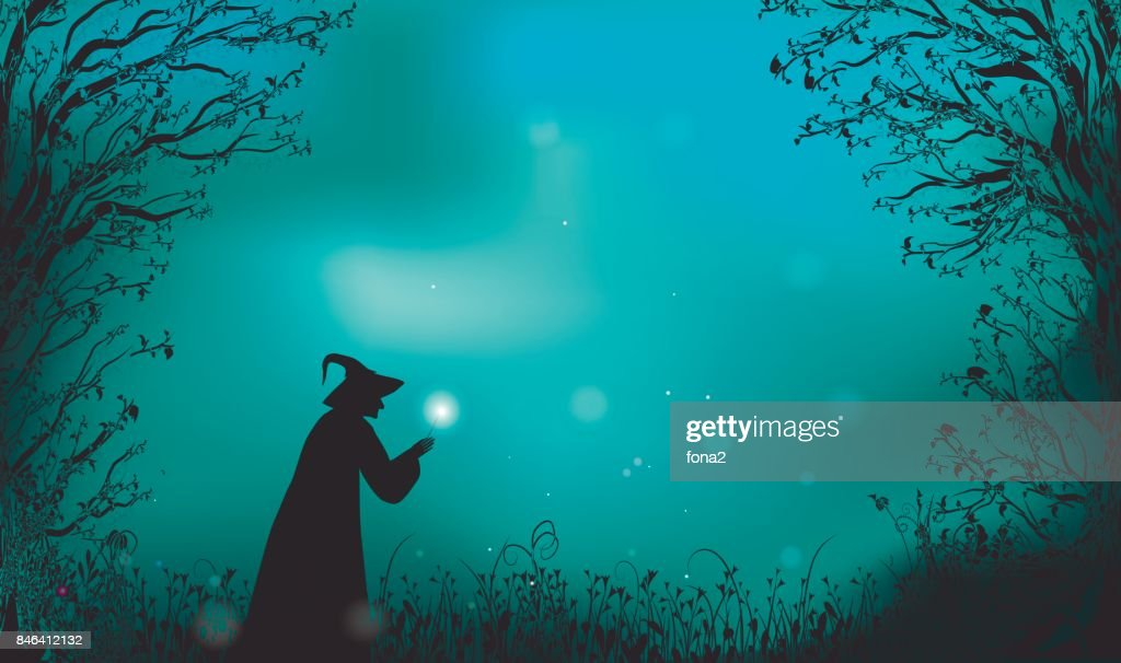 deep fairy forest silhouette and witch with magic