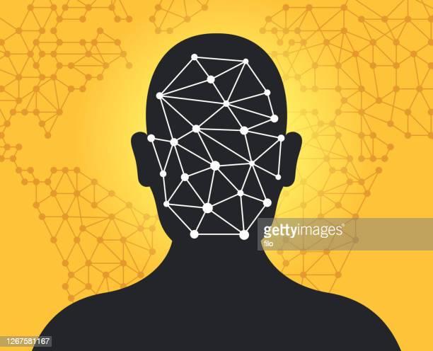 illustrazioni stock, clip art, cartoni animati e icone di tendenza di tecnologia di riconoscimento facciale deep fake - profondo