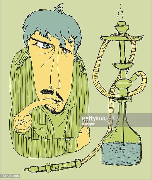 deep in thought - hookah stock illustrations, clip art, cartoons, & icons