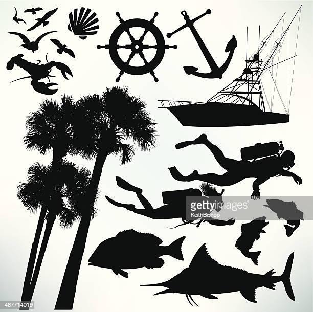 deep sea diving elements, sailboat, seagulls, anchor, palm trees, sailfish - scuba diving stock illustrations
