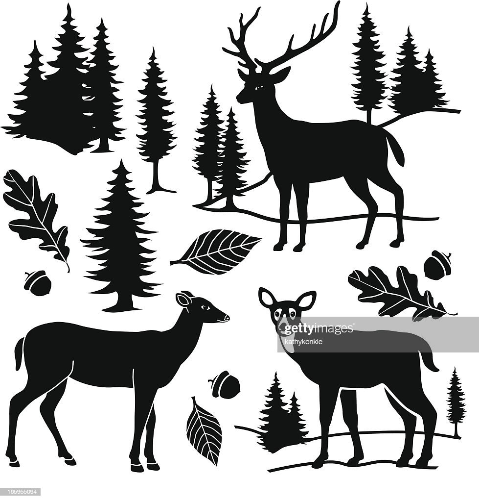 deer and forest design elements