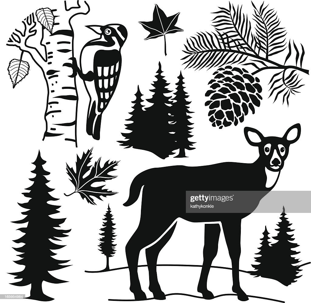 deer and forest elements