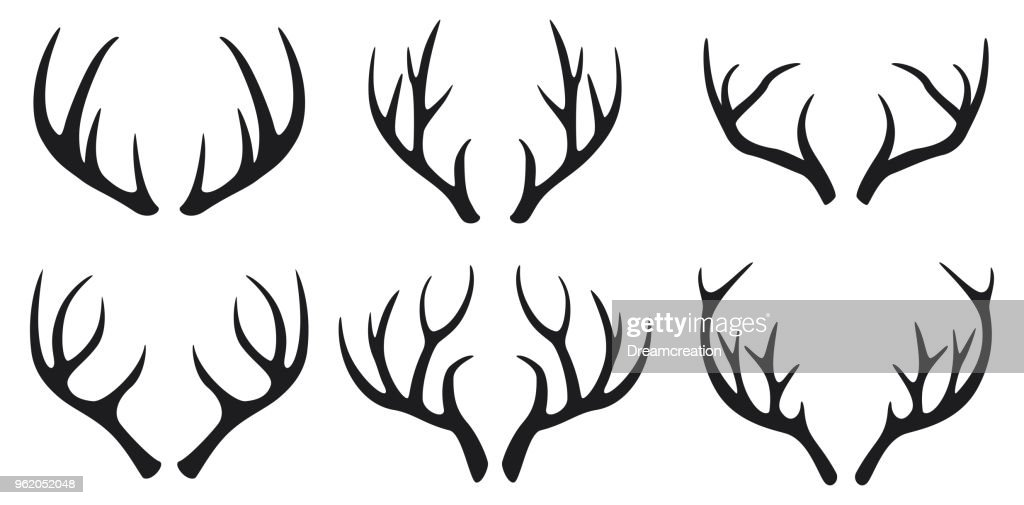 Deer antlers black icons set on white background