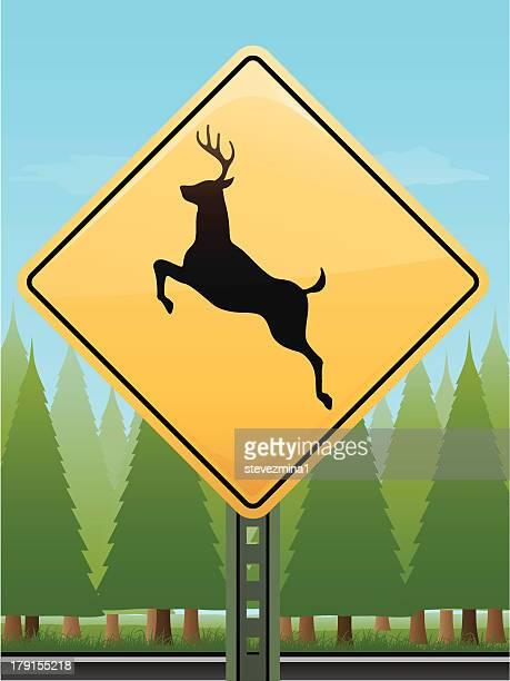 deer crossing sign - animal crossing sign stock illustrations