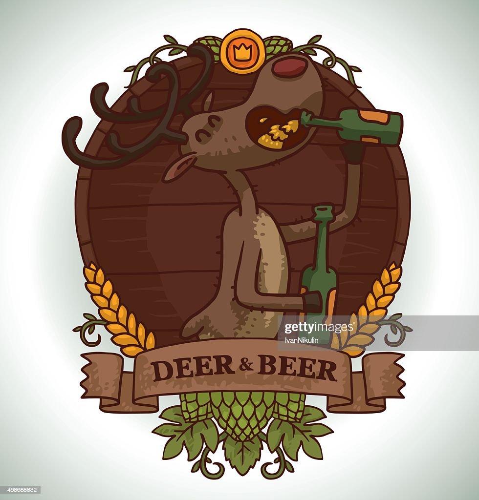 Deer drinking beer from glass bottle, emblem