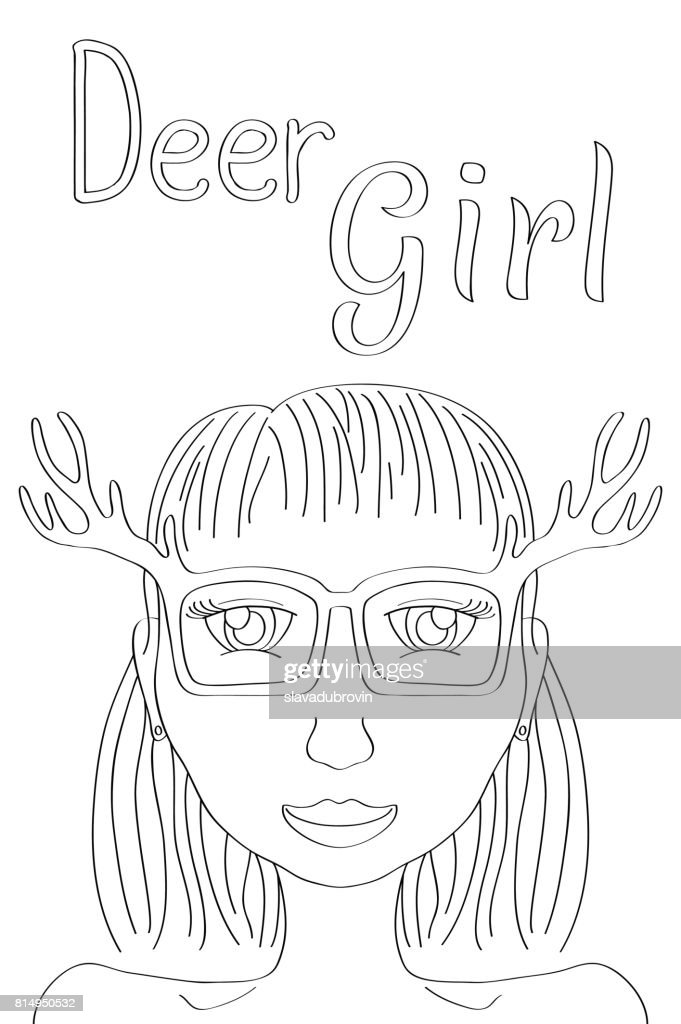 Deer Girl coloring page. Cute girl black line vector illustration. Boho style fashionista girl print.