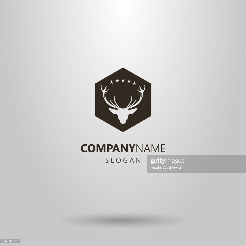 deer head icon in diamond frame