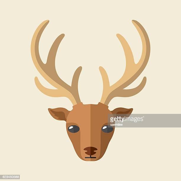 deer head icon - reindeer stock illustrations
