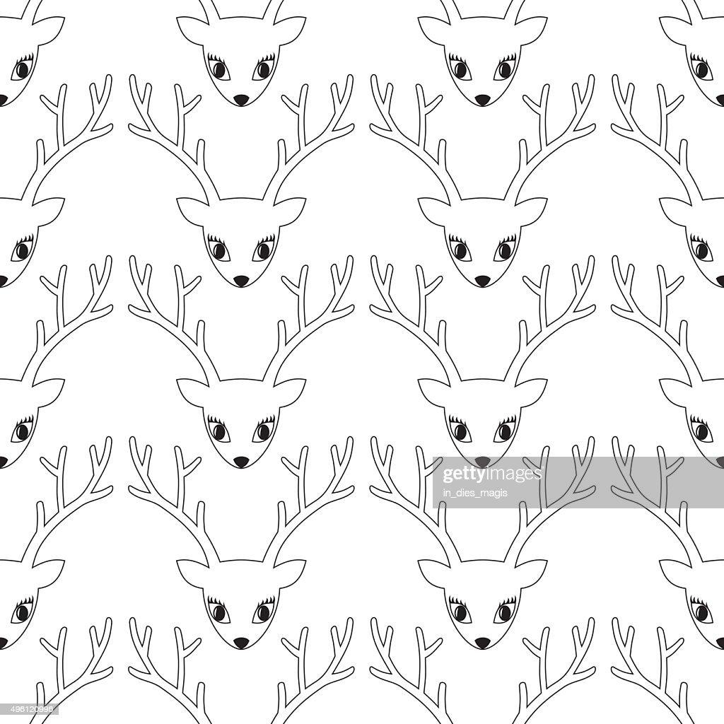 Deer head seamless pattern.