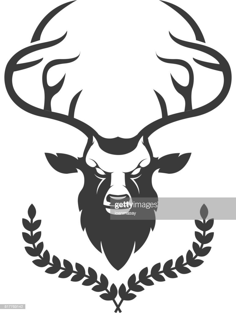 Deer head silhouette with wreath isolated on white background. D