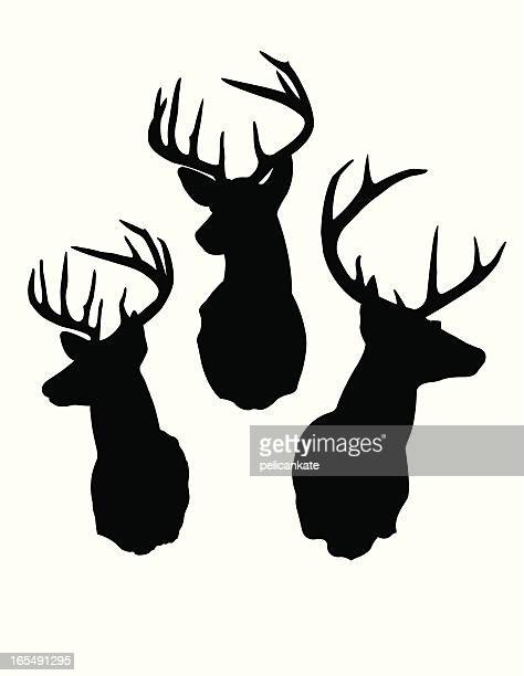 deer head silhouettes - male animal stock illustrations