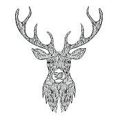Deer head stylized in doodle style.