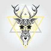 Deer head. Tribal pattern