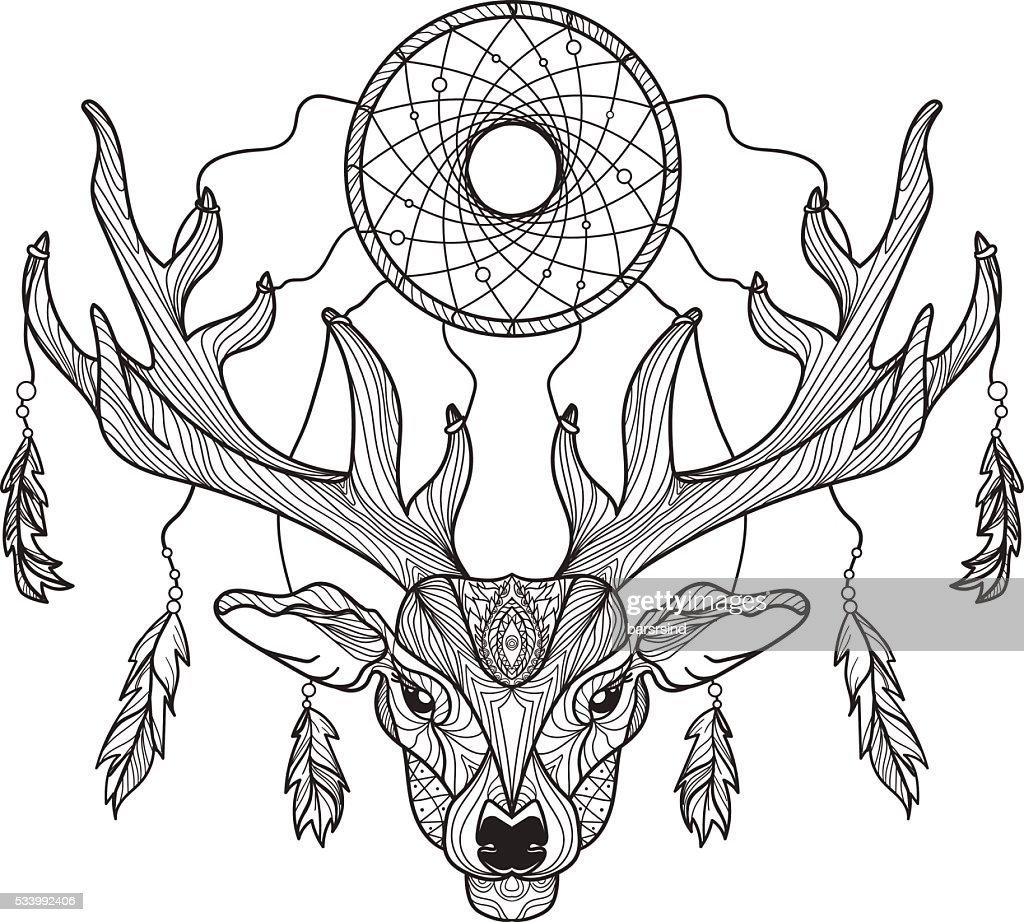 Deer head with horns and dreamcatcher