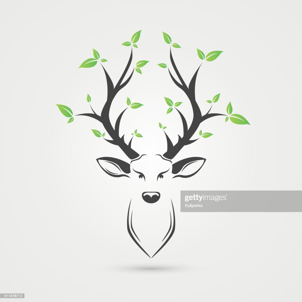 Deer head with leafs. Creative style. Vector illustration