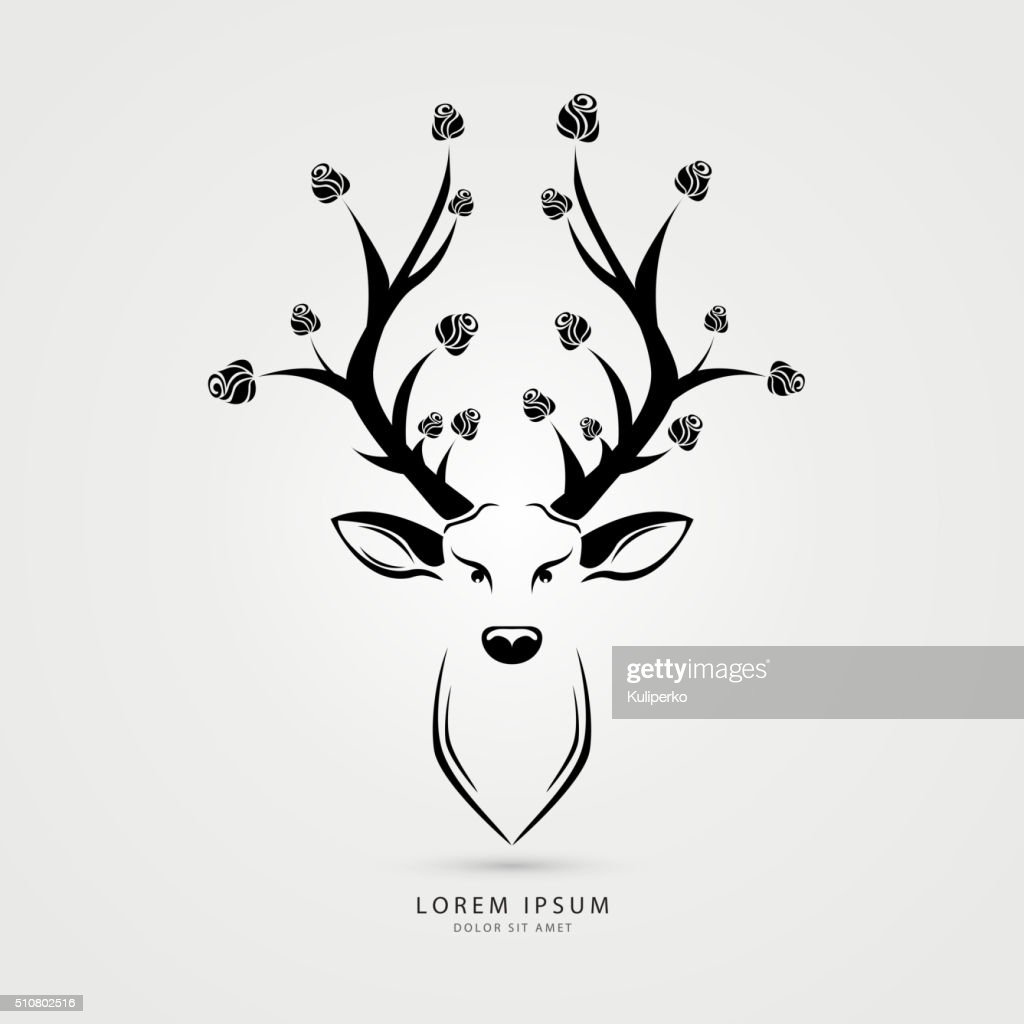 Deer head with roses- vector illustration. Creative style. Vector