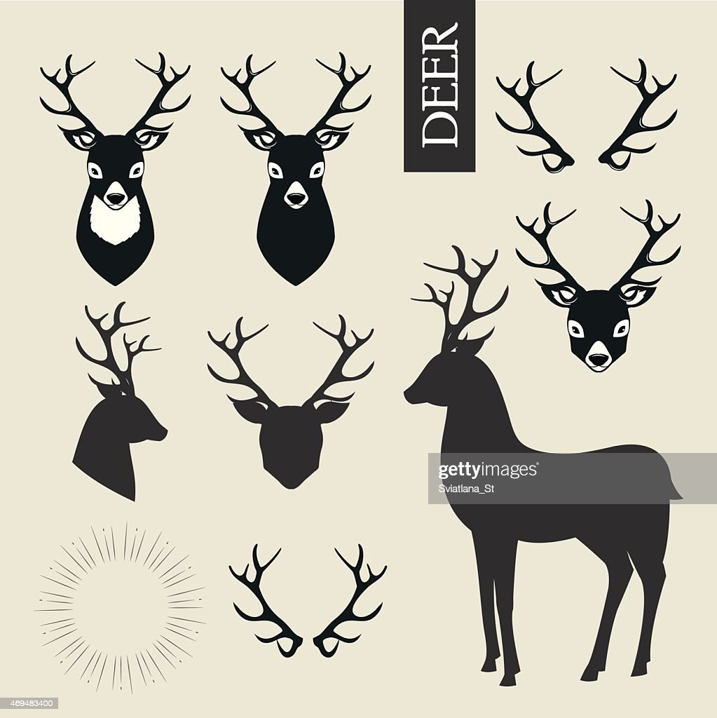 Deer heads, horns and deer silhouettes vector set