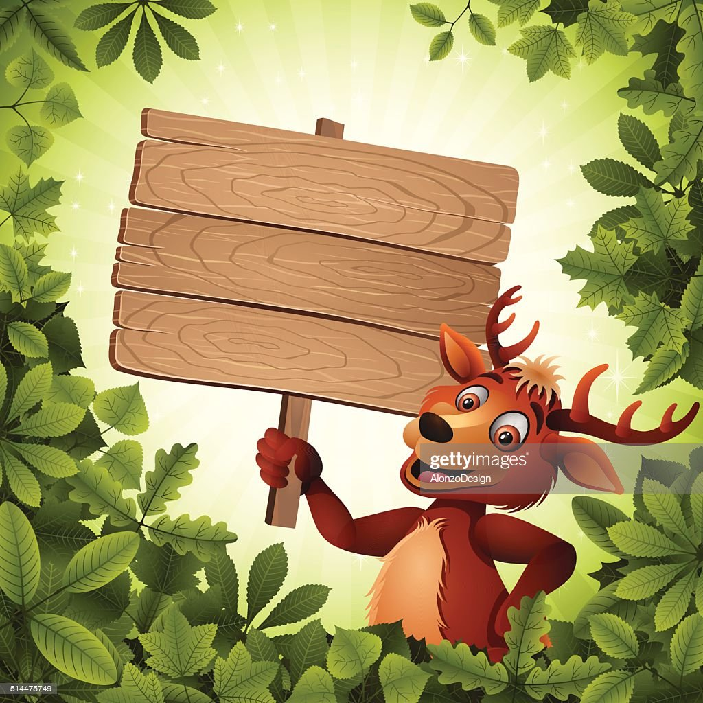 Deer holding a Wooden Sign : stock vector